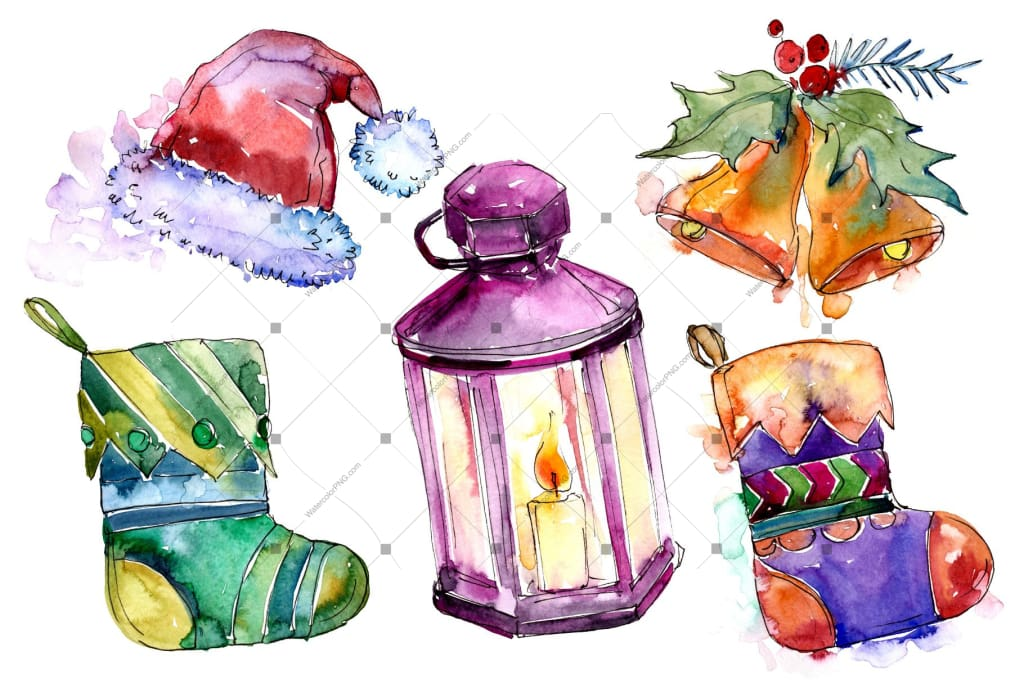 Watercolor Christmas Collection Elements Png Set Digital