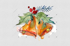 Watercolour Christmas Collection Elements Png Set Digital