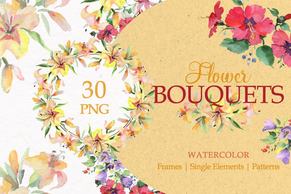A bouquet of morning blooms watercolor png Digital