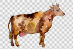 Agriculture: cow Watercolor png Flower