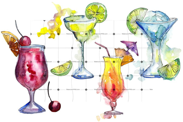 Alcoholic Cocktails Png Watercolor Set Digital