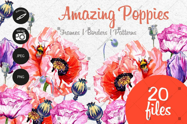 Amazing Poppies Png Watercolor Set Digital