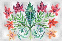 Antic-Kiev Ornament Flower Png Set de flori de acuarelă