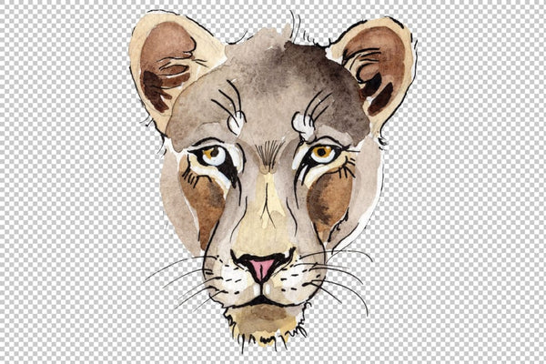 Animal: Lion Watercolor png Flower