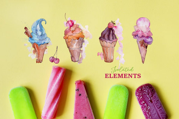 Appetizing ice cream Watercolor png Digital