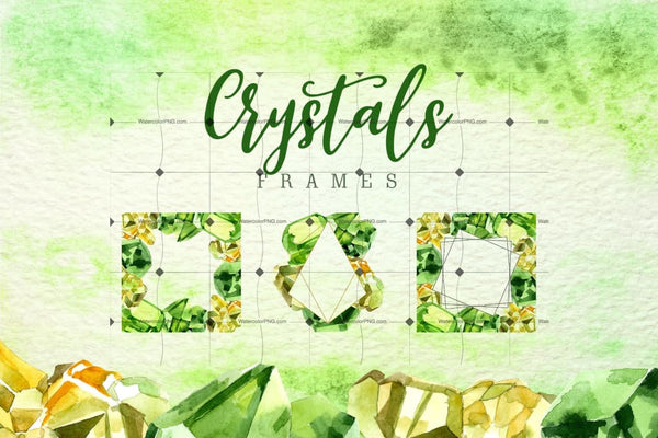 Aquarelle Yellow And Green Crystal Png Set Digital