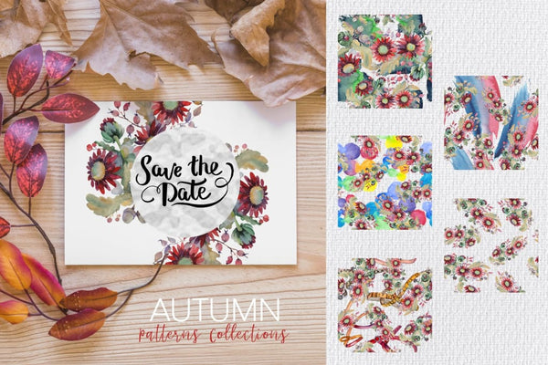 Autumn Bouquet with acorns and asters Watercolor png Digital