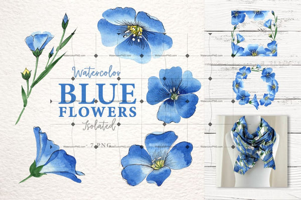 Be Flex With Flax! Bright 33 Png Of Blue Flowers! Digital