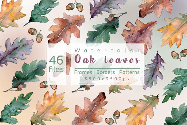 Beautiful autumn oak leaves JPG set Digital