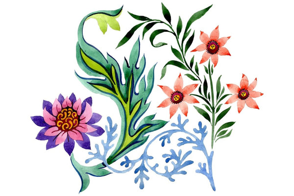 Beautiful flower ornament watercolor png Flower