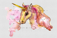 Beautiful Unicorns Png Watercolor Set Digital