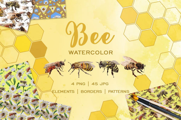 Bee Watercolor png Digital