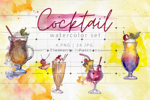 Beverages Collection Png Watercolor Set Digital