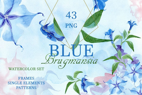 Blue Brugmansia Watercolor png Digital