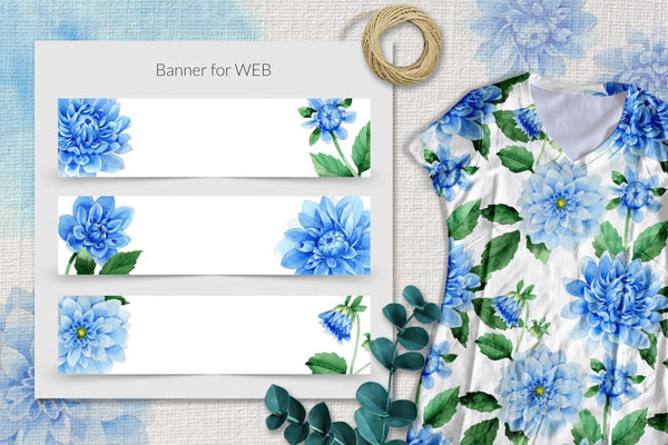 Biru dahlia bunga yang hebat PNG set cat air Digital