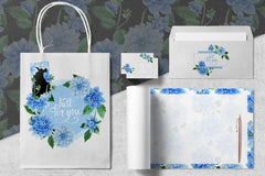 Blue dahlia watercolor PNG clipart Digital