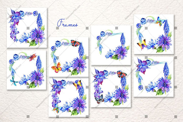 Blue Gerbera Png Watercolor Flower Set Digital