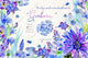 Blue gerbera PNG watercolor flower set