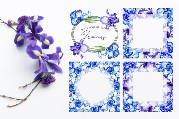 Blue irises Inspiration watercolor png Digital