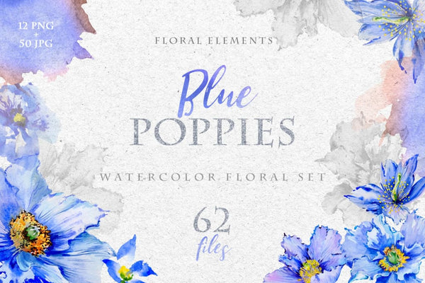 Blue Poppies Watercolor png Digital