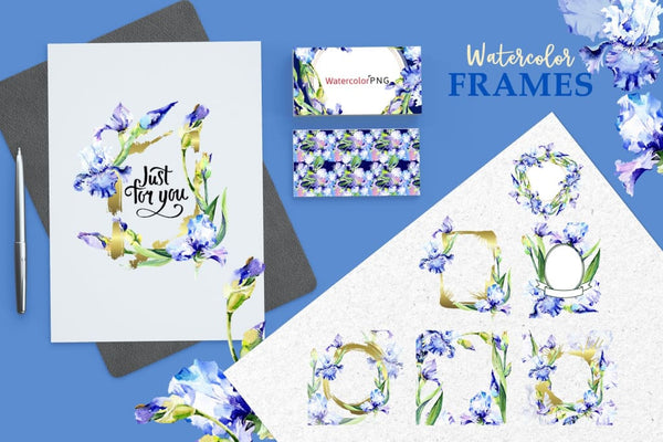 Blue Watercolor Irises PNG Digital