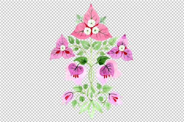 Bougainvillea ornament pink watercolor png Flower