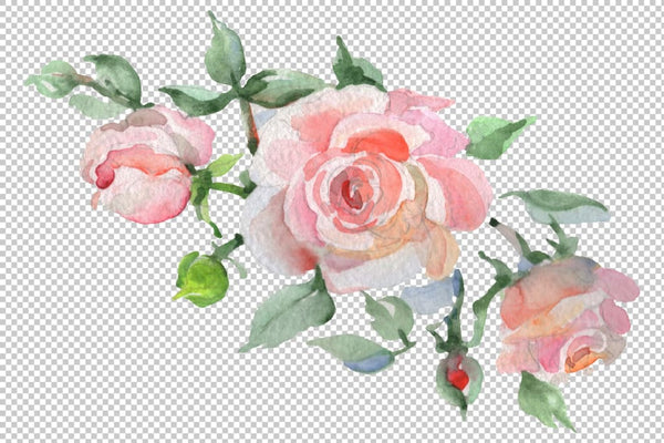 Bouquet Clear morning pink and blue Watercolor png Digital