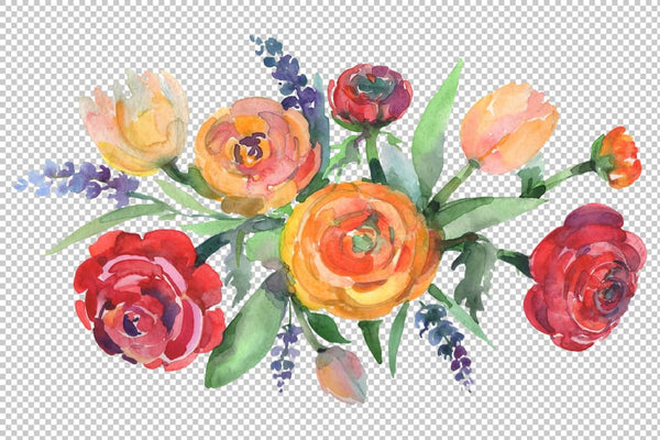 Bouquet floral waltz Watercolor png Flower