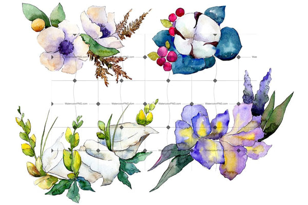 Bouquet Flower Composition Png Watercolor Set Flower