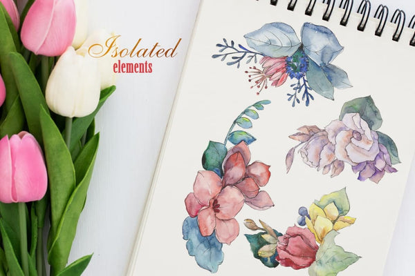 Bouquet gifts of nature watercolor png Digital
