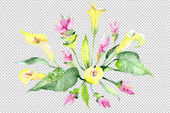 Bouquet glowing heart watercolor png Flower