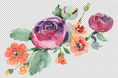 Bouquet Hello Summer Watercolor png Flor