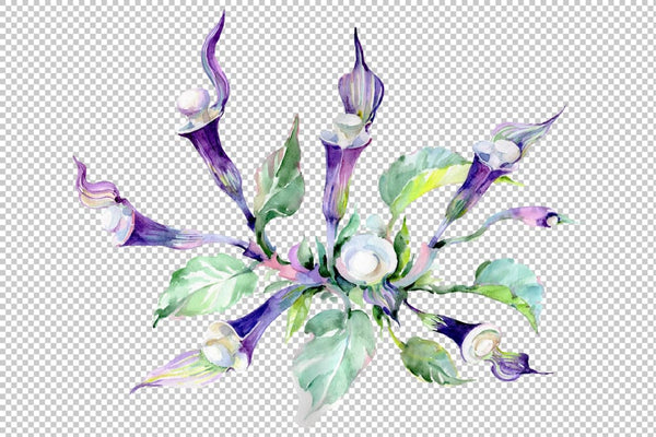 Bouquet Melody of the piano Watercolor png Flower