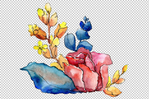 Bouquet Merlin watercolor png Flower
