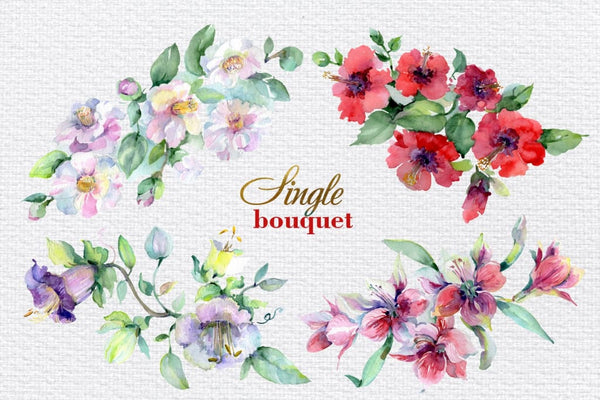 Bouquet of bright dreams watercolor png Digital