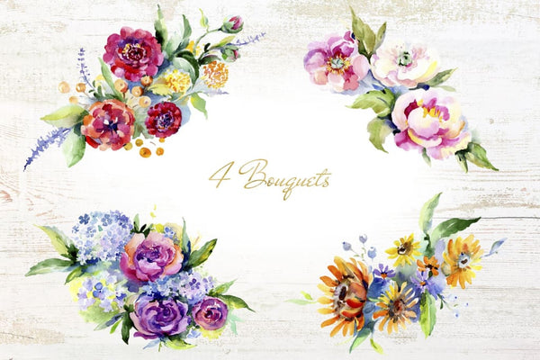 Bouquet of flowers between heaven and earth watercolor png Digital