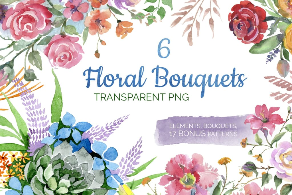 Bouquet of flowers Bright dreams watercolor png Digital