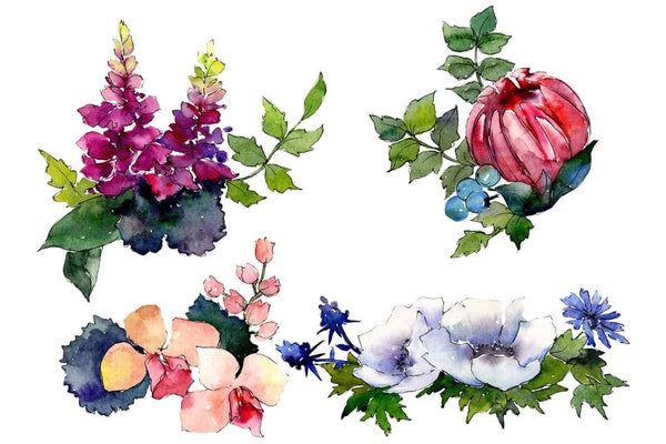 Bouquet of flowers Charms watercolor png Flower