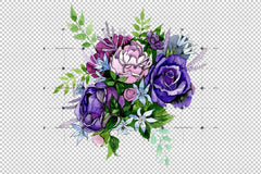 Bouquet Of Pink And Purple Roses Flower