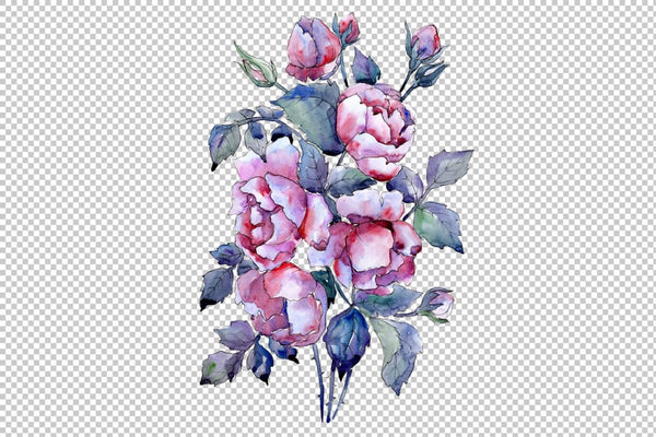 Bouquet of roses flowers watercolor png Flower