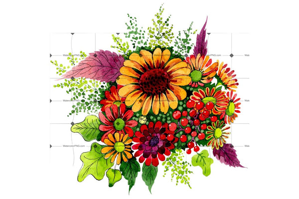 Bouquet Of Wild Flowers Png Watercolor Set Flower