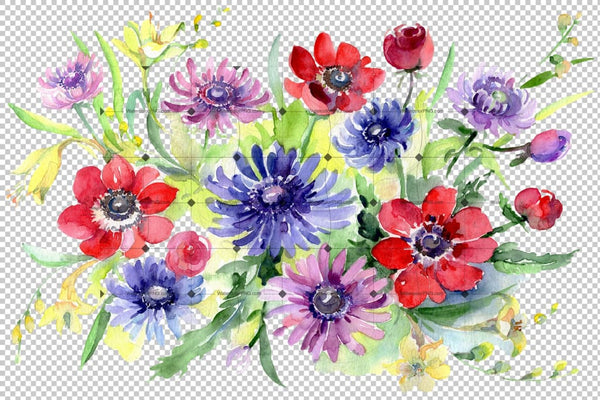 Bouquet of wild flowers Watercolor png Flower
