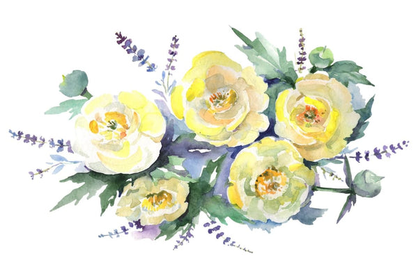 Bouquet of yellow flowers Watercolor png Flower