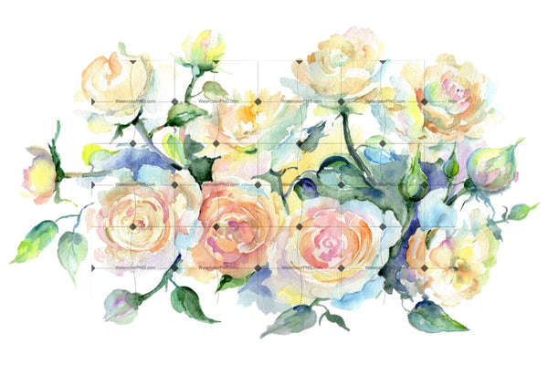Bouquet or yellow roses Watercolor png Flower
