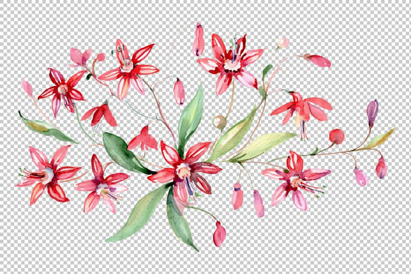Bouquet red Alley of Glory watercolor png Flower