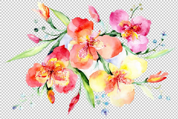 Bouquet red Night mystery watercolor png Flower