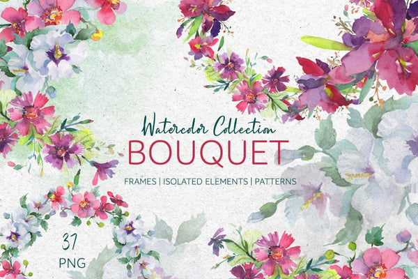 Bouquet summer freshness watercolor png Digital