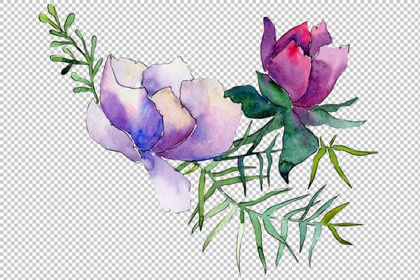 Bouquet Summer nights watercolor png Flower