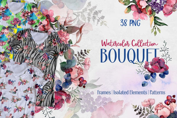 Bouquet taste of summer watercolor png Digital