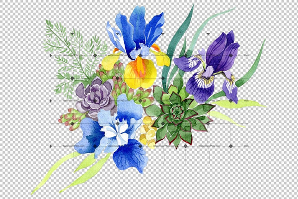 Bouquet With Blue Irises Watercolor Png Flower